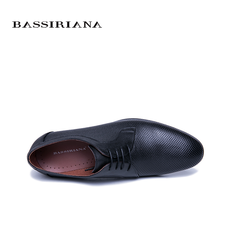 BASSIRIANA 2019 New Business Genuine leather Shoes men formal Lace up Spring Autumn Black Size 39 45 Comfortable and breathable in Formal Shoes from Shoes
