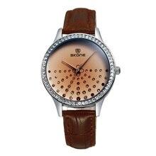SKONE Mujeres Rhinestone Relojes Correa de Cuero Del Reloj de Moda de Primeras Marcas de Lujo Vestido de Reloj de pulsera de Reloj Horas Regalo Relogio Feminino