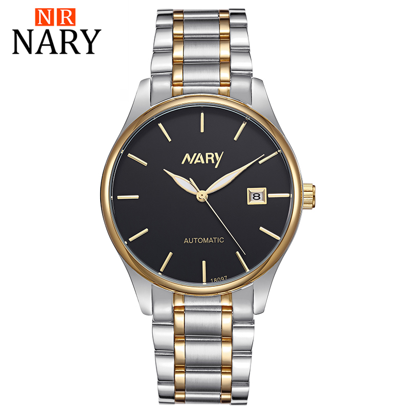 Automatic mechanical watch waterproof man han edition business men's stainless steel watch famous brand NARY golden watch segal business writing using word processing ibm wordstar edition pr only