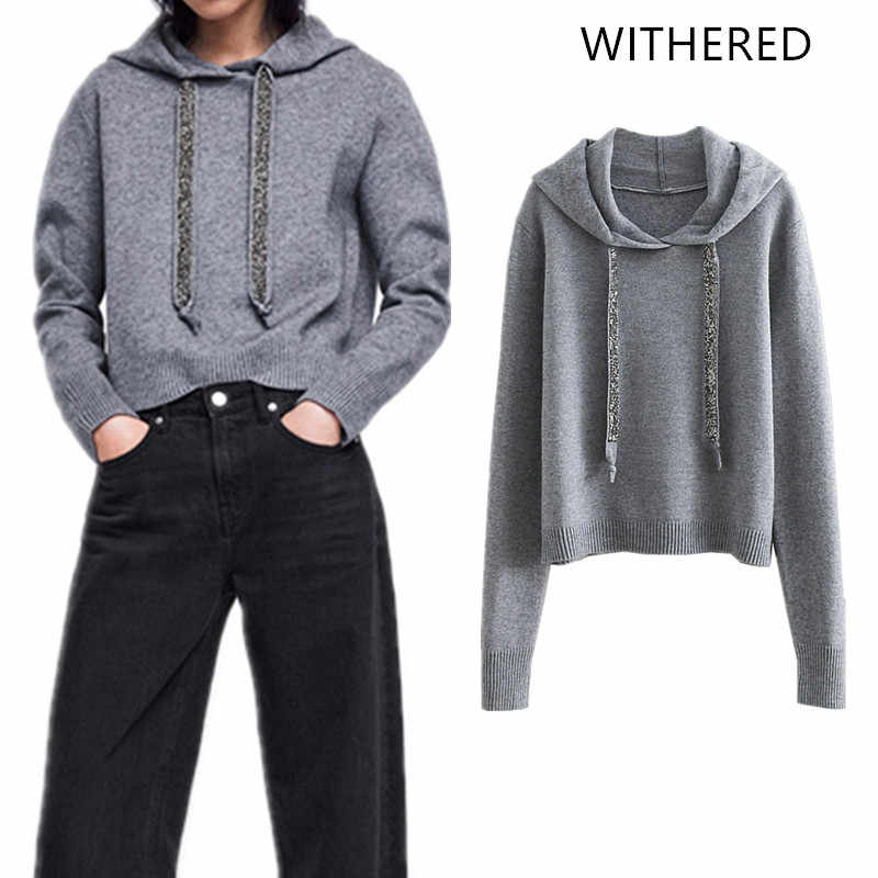 Withered 2018 BTS hoodie Sweatshirts hooded england style solid knitted  metal sequined fashion Women s hoodie plus 0f3fae9f590e