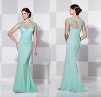 2015 Mint Green Lace And Chiffon Dress Mother Of The Bride High Neck Long Mermaid Fashion Women Gowns