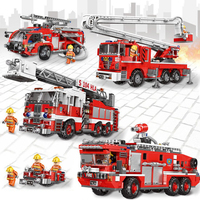City Fire Truck The Rescue Vehicle Sets Building Ladder Blocks Compatible playmobil toys Toys For Children ninjago technic toy