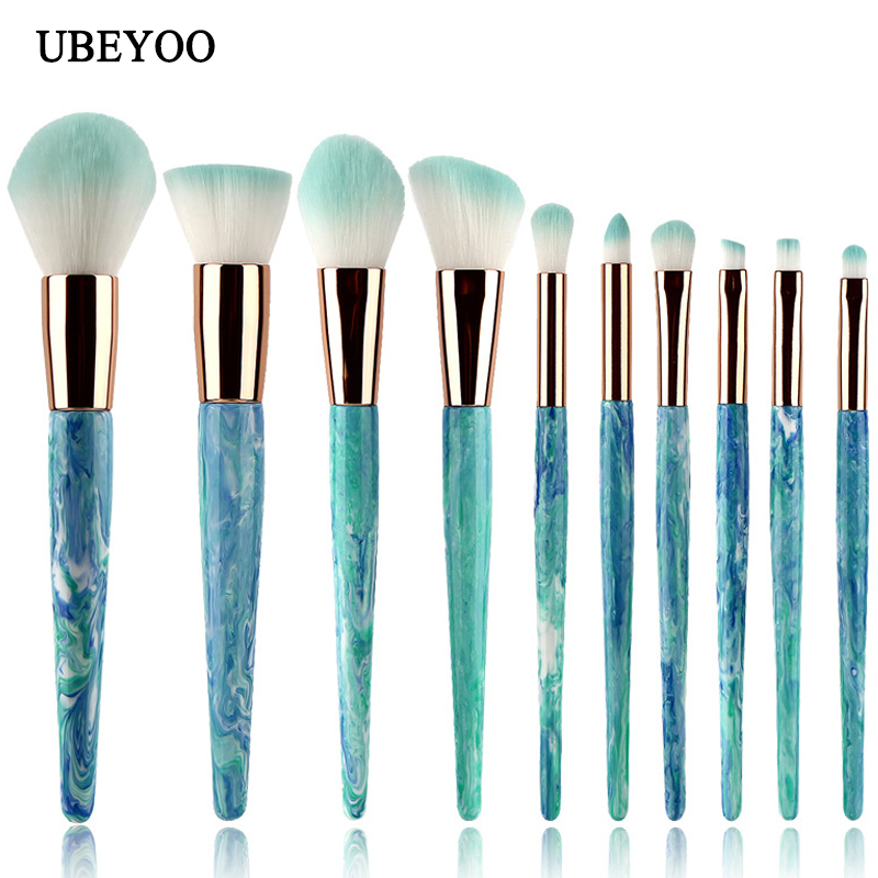 UBEYOO Hot Sale Professional 10pcs/set ink white jade pattern makeup brush Marble makeup brush Beauty Tools Makeup Brush Set professional 10pcs set orange color makeup stick makeup brush set foundation fan brush eye shadow brush beauty tools