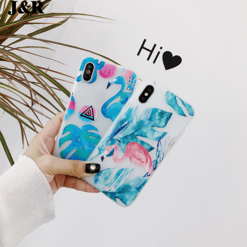 J&R 3D Relief Flower Flamingo Case For iPhone 7 8 Plus Bee Matte Soft Silicon Cover For iPhone X 6 6s Plus Phone Accessories