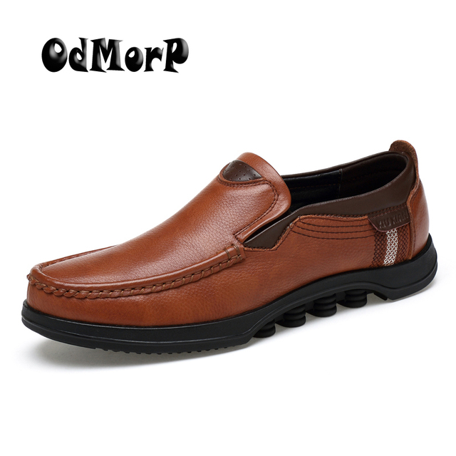 ODMORP Men Leather Shoes Formal Business Casual Shoes Leather Loafers  Moccasins Handmade Shoes Men Big Size 48
