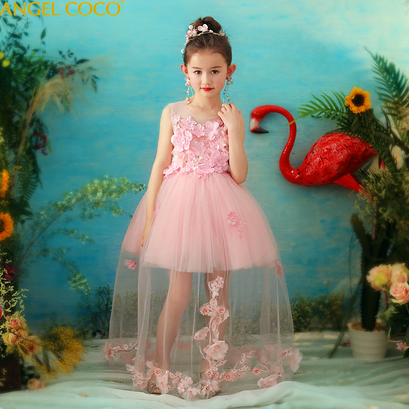 4-14Yrs Lace Teenagers Kids Girls Wedding Long Girl Dress elegant Princess Party Pageant Formal Dress Sleeveless Girls Clothes пила sturm 2100201
