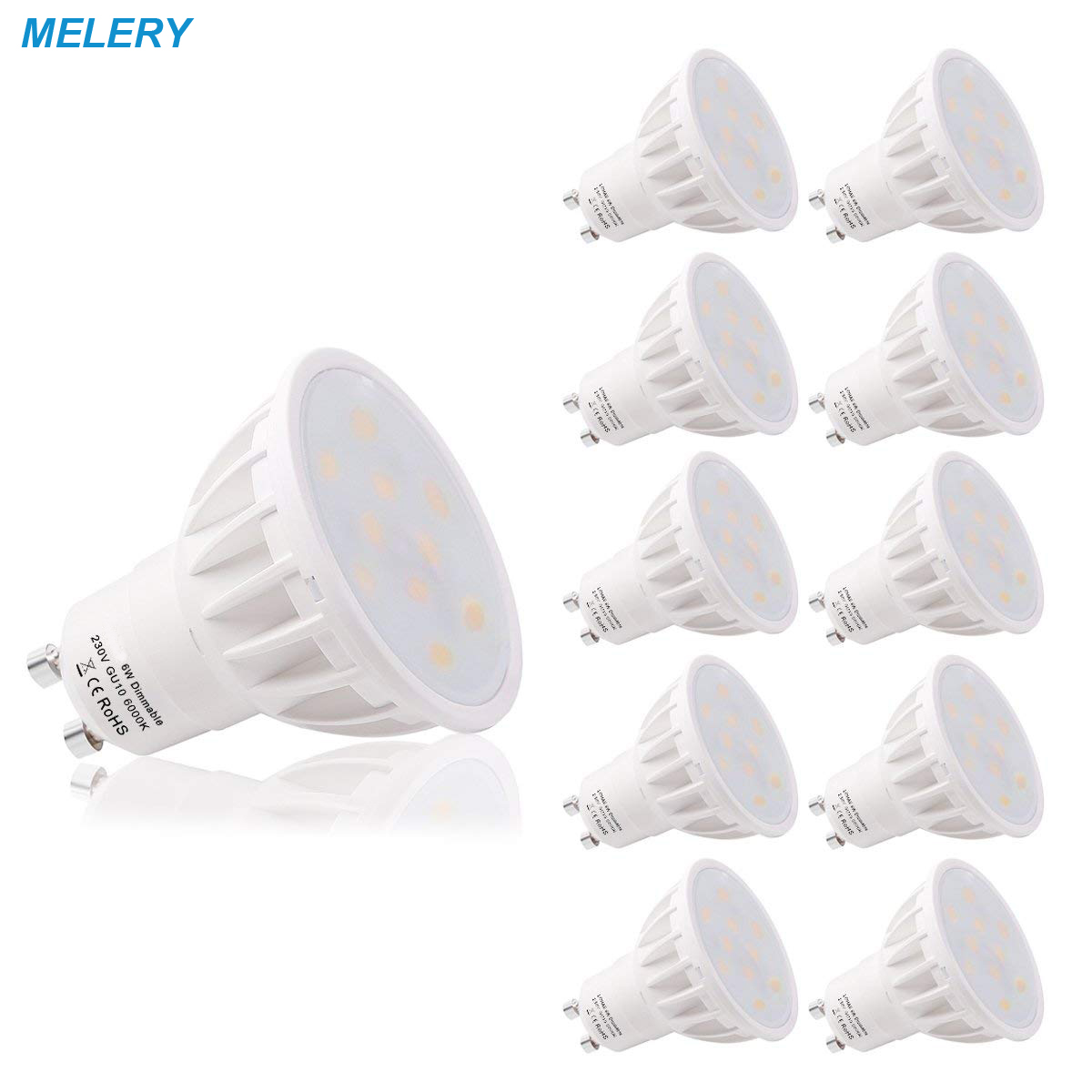 Spot Light Dimmable GU10 Base 6W LED Beautiful 6000K 500lm Day White 50W Replacement for Halogen Bulb for Room,Hotel-10PACK