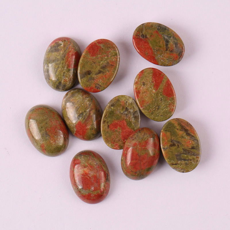 18x13MM Unakite Epidote Oval CAB GEM Cabochon Jewelry Bead (10 pcs/lot) H012