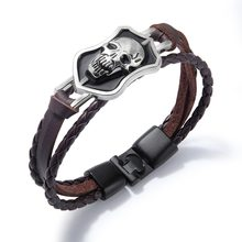 Skull Skeleton Leather Bracelets for Men Stainless Steel Braided Rope Bracelets & Bangles Rock Style Men Jewelry (BA102354)(China)
