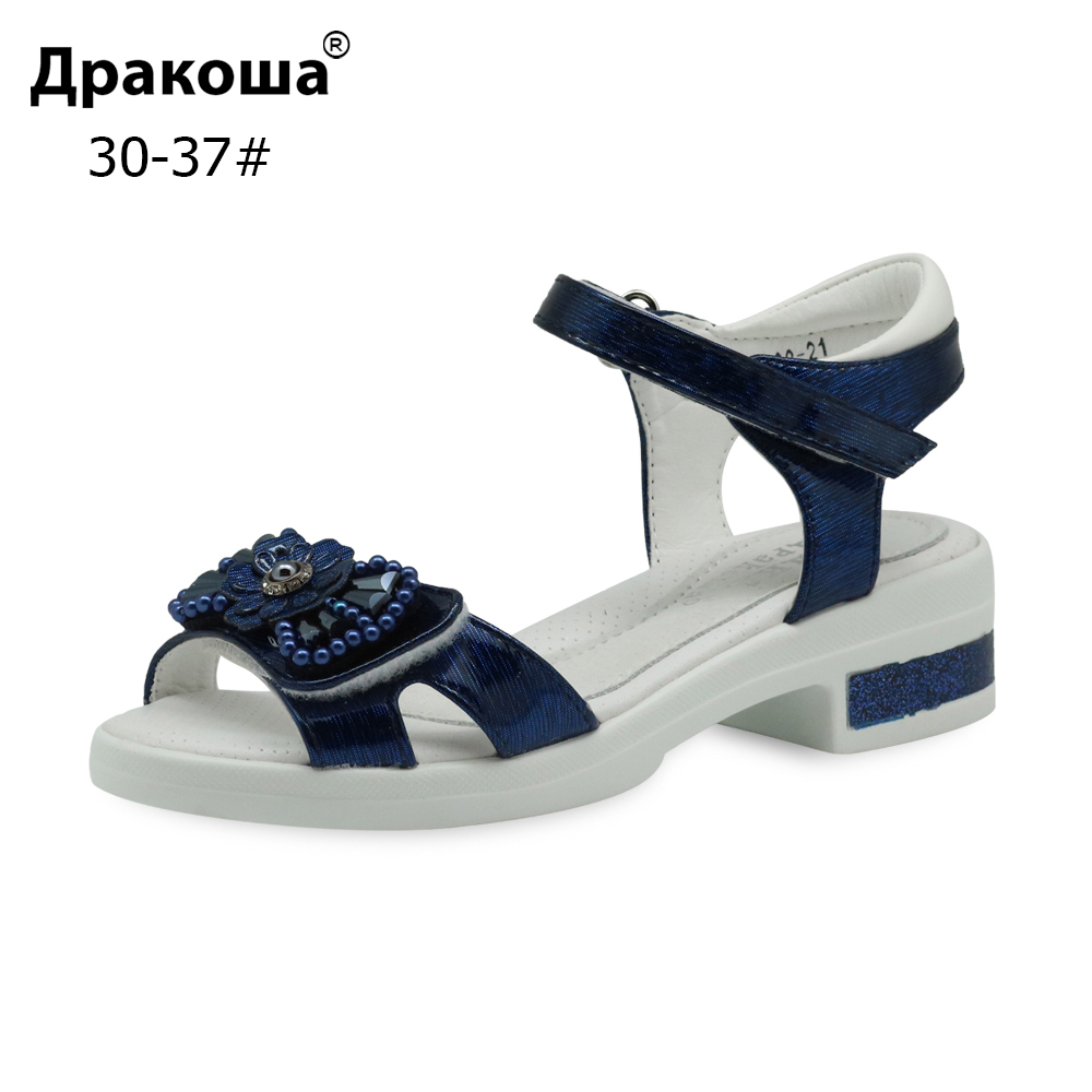 Apakowa Eur 30-37 Fashion Girls Sandals Summer PU Leather Orthopedic Children's Shoes With Bowknot Pearl For Beach Party New