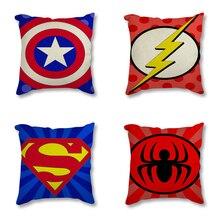 Batman Superman Captain America Minimalist Ar  Cartoon Superheroes Logo Printed Decorative Cushion Cover for Sofa Pillow Case
