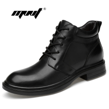цены на Plus Size Men Boots Genuine Leather Men Snow Boots Warm Fur&Plush Lace Up Winter Shoes High Quality Men Ankle Boots Shoes  в интернет-магазинах