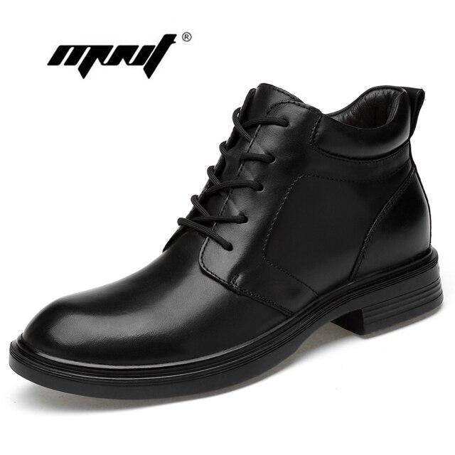 Plus Size Men Boots Genuine Leather Men Snow Boots Warm Fur&Plush Lace Up Winter Shoes High Quality Men Ankle Boots Shoes