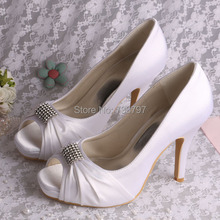 (20 Colors) Custom Handmade Square Toe White Wedding Shoes for Brides High Heeled