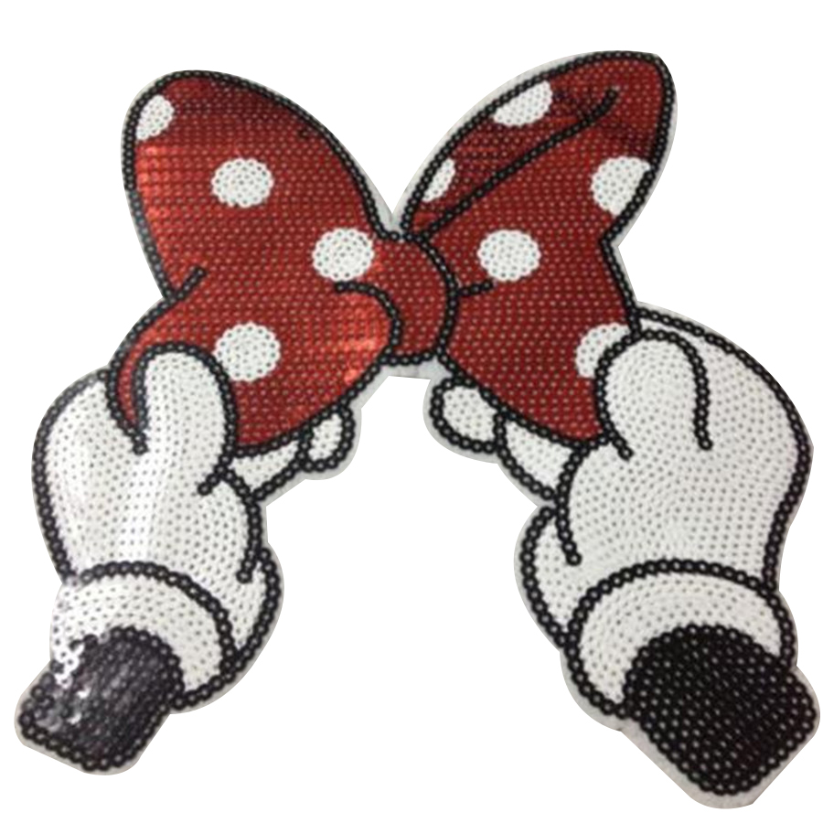 Fashion sequins Icon 25cm cartoon dot bow iron on patches for clothing embroidery patch applique clothes t shirt women stickers