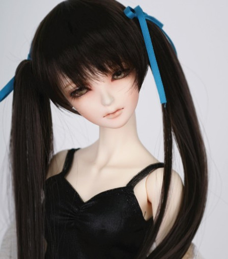 1/3 1/4 1/6 BJD Sd Doll Wig Hatsune Miku Bjd Black Wig With Two Ponytails Free Shipping