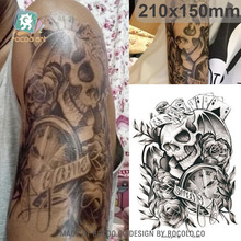 LC833/New 2015 eco-friendly big coolest clock skeleton tattoo designs black sticker for men