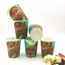 10pcs/lot Moana Romance Party Supplies Paper Cup Cartoon Birthday Decoration Baby Shower For Kids Girls Boys Party Supplies