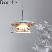 Luzes pingente de cerâmica moderna estilo chinês conduziu a lâmpada pendurada para sala estar cozinha quarto decoração casa loft porcelana luminárias|Luzes de pendentes| |  -