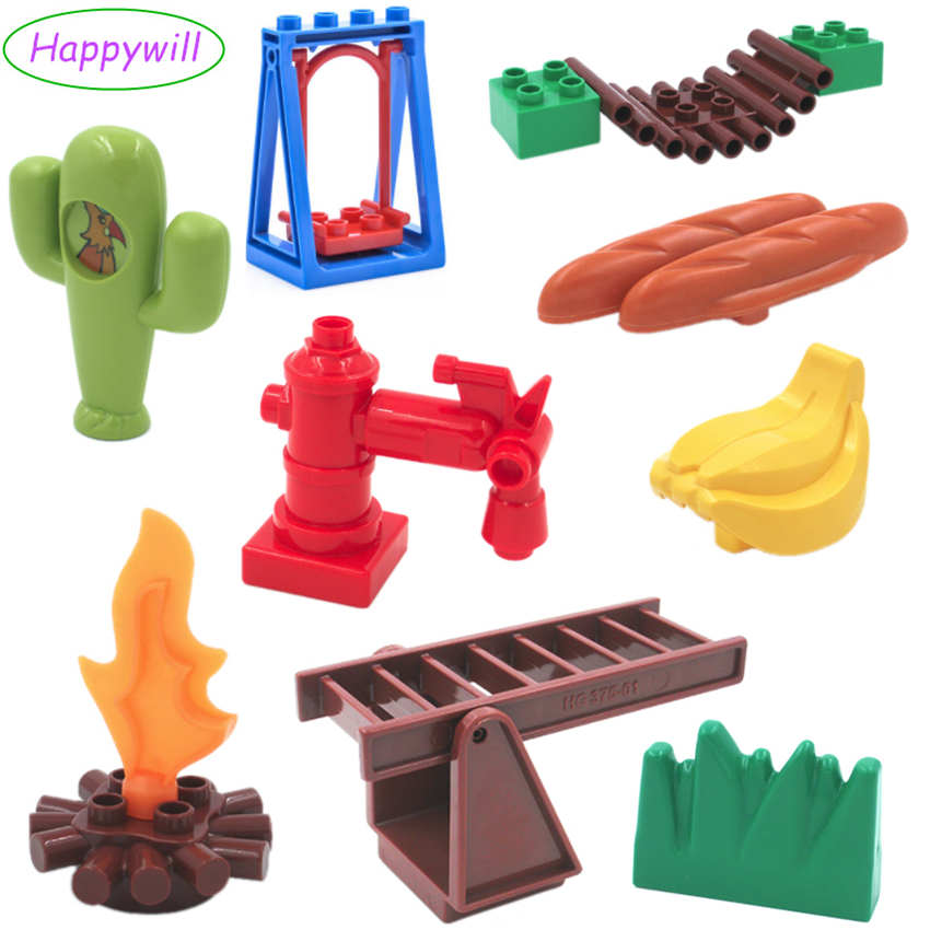 Happywill Life Series DIY Building Block Accessories Baby Educational Toys Table Chair Tree Grass Raft Plate Ladder Compatible baby wooden knock the ball down the ladder block toys assemble building block for kids child educational toys free shipping