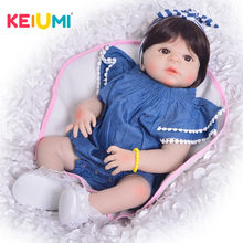 KEIUMI 23 Inch Full Body Silicone Reborn Baby Dolls For kids Playmates Realistic 57 cm Princess Dolls Reborn Fashion Boneca Gift(China)
