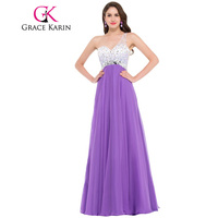 Grace Karin Dress 2016 One Shoulder Elegant Medium Orchid Purple Long Evening Dresses Vestido De Noche