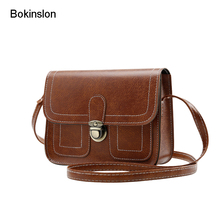 Bokinslon Crossbody Bag Woman PU Leather Retro Women Shoulder Bags Casual Fashion Female Small Square Bags