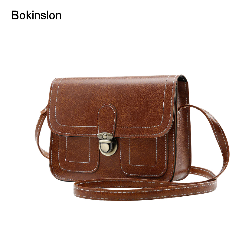 Bokinslon Crossbody Bag Woman PU Leather Retro Women Shoulder Bags Casual Fashion Female Small Square Bags swdf 2017 new crossbody bag woman pu leather retro women shoulder bags casual fashion female small square bags mobile phone bag