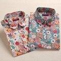 2016 Floral Blusas de Las Mujeres Camisa de Manga Larga de Algodón Camisas de Las Mujeres Cereza Ladies Casual Tops Blusa Animal Print Plus Tamaño 5XL