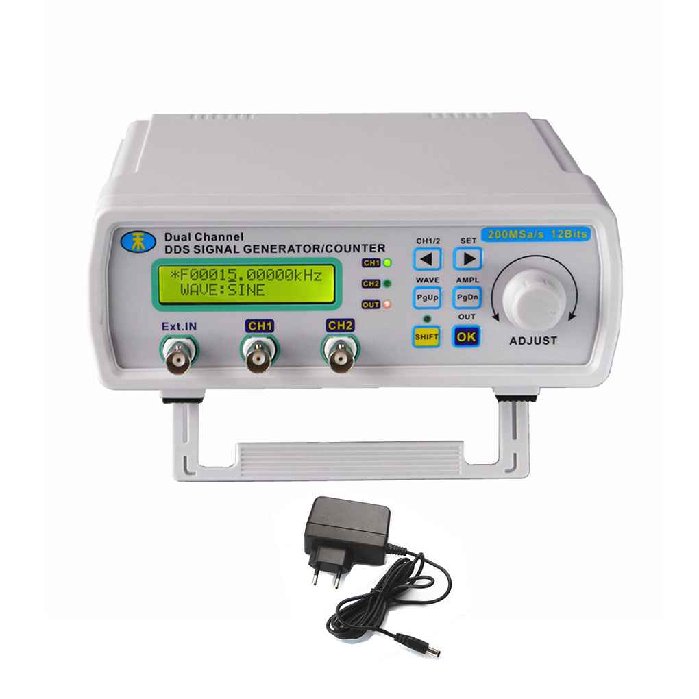 MHS5200A 6MHz Digital DDS Dual-channel Signal Source Generator Arbitrary Waveform Frequency Meter 200MSa/s 180*190*72mm feeltech fy3206s 6mhz nc dual channel arbitrary waveform dds function generator source frequency meter signal generators