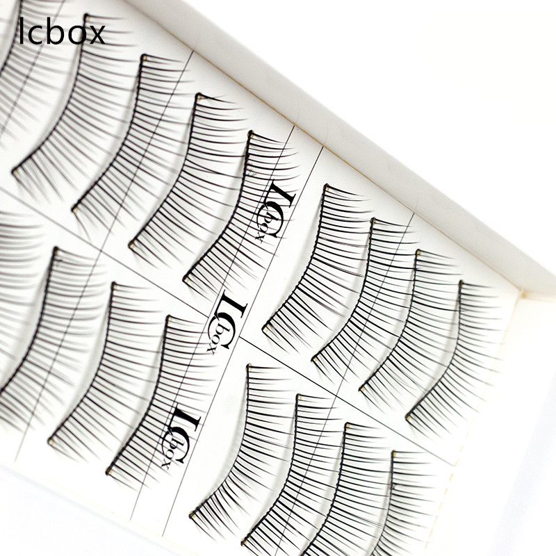 LCBOX brand high quality 10 Pairs/Set Natural Long False Eyelashes handmade Human Hair Eye Lashes Extension free shipping