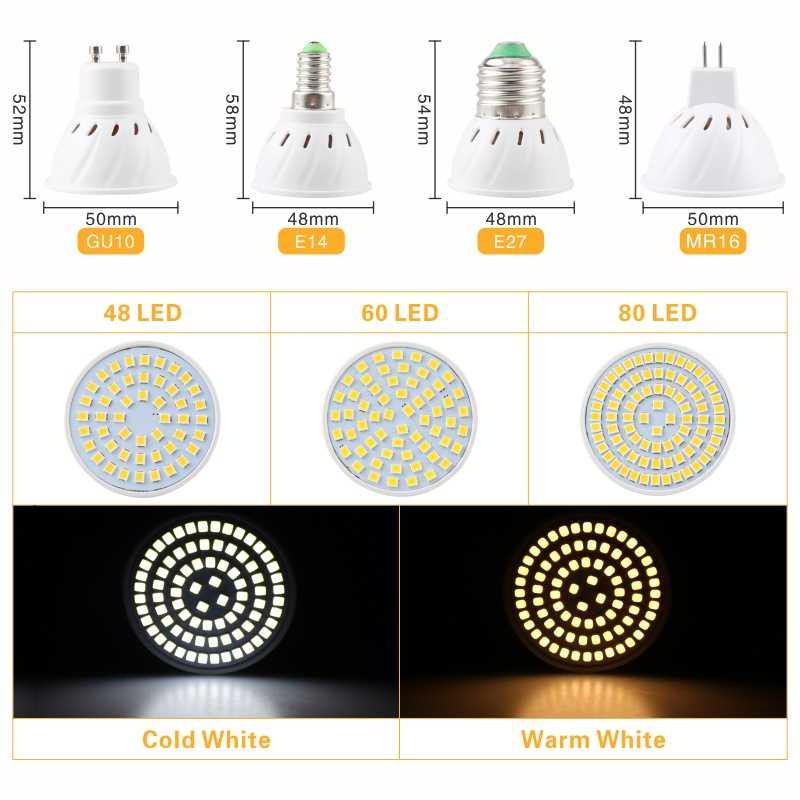 Светодиодный лампы E27 E14 MR16 GU10 лампада AC 220V 230V 240V Bombillas светодиодный лампа Spotlight 48 60 80 светодиодный s 2835 SMD Lampara пятно света cfl