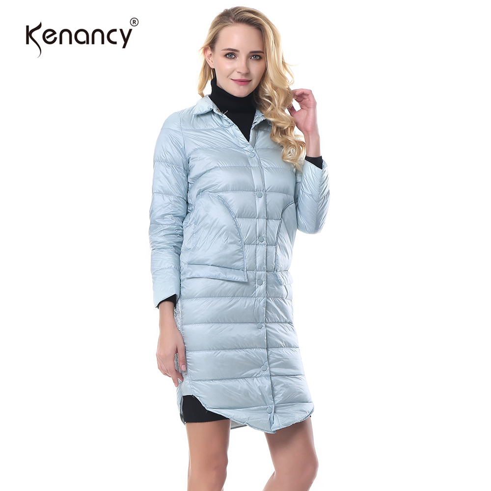 Kenancy XL Pocketed Fashion Ultra Light Duck Down Coat Women Warm Fake Back Pocket Curved Hem Stand Collar Outwear 6 Colors