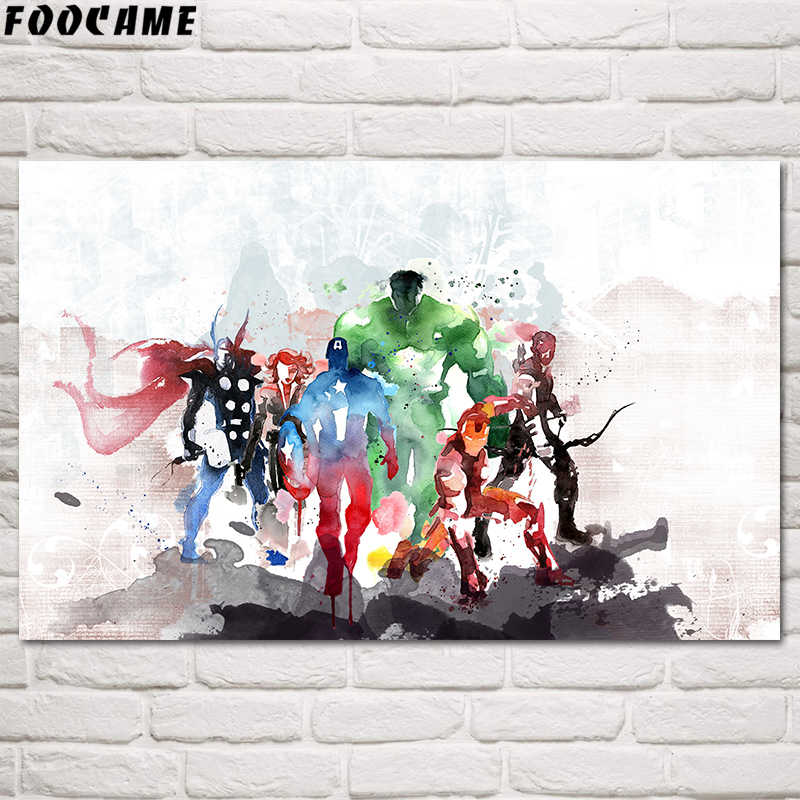 FOOCAME Captain America Iron Man Avengers Movies Poster Art Prints Silk Watercolor Painting Living Room Home Decoration Pictures