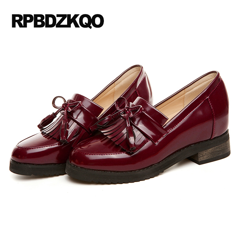 Vintage Women Oxfords Shoes Fringe Patent Leather Red Wine Slip On Tassel Size 9 Platform Flats Bow 2017 Size 34 British Style