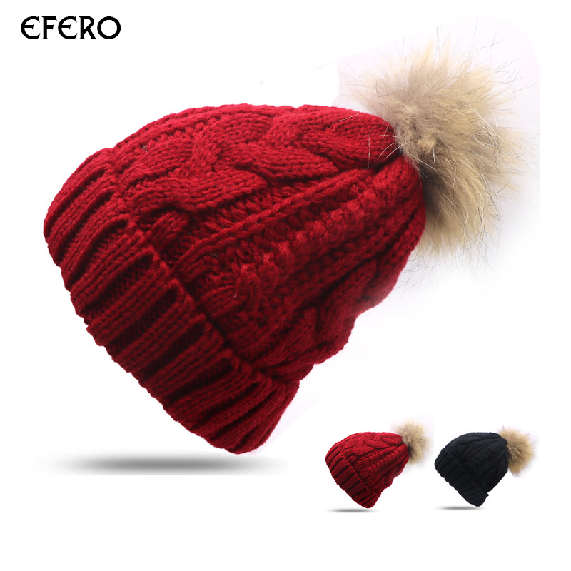 1pcs efero Woman Cap Winter Knitted Hats Warm Fur Pompom Cap   Skullies     Beanies   for Women Cap Girls Hats Bonnet Casquette Homme