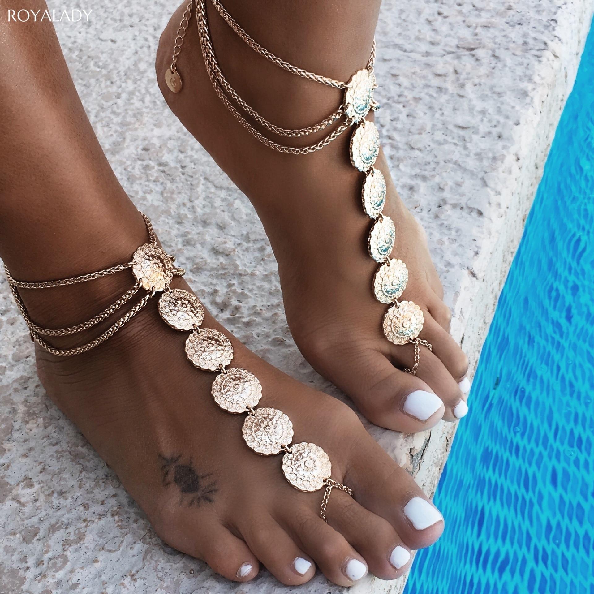 Vintage Carving Flower Coins Anklets For Women Bohemian Handmade Summer Beach Pendant Ankle Bracelet For Women Foot Jewelry Gift