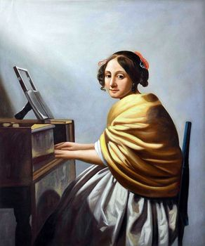 Young Woman Seated at the Verginals by Johannes Vermeer Canvas Art Painting for Living Room Wall Decor Classic Figure Painting