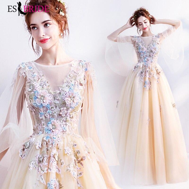 Long   Evening     Dresses   Lace Appliques Vestido Largo Fiesta Noche Elegante Luxury   Evening   Gown Long Sleeve   Evening     Dress   ES2038