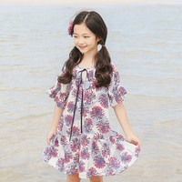 Petal Sleeve Summer Dress Girl 2018 Beach Flowers Print Teenage Children Dresses For Girls Of 12