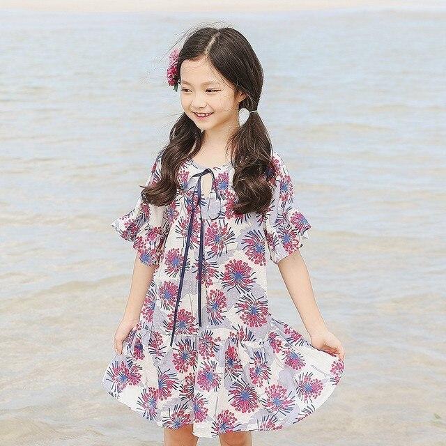 02c2dd692b8 Pétale manches robe d été fille 2018 plage fleurs imprimer enfants  adolescents robes pour filles