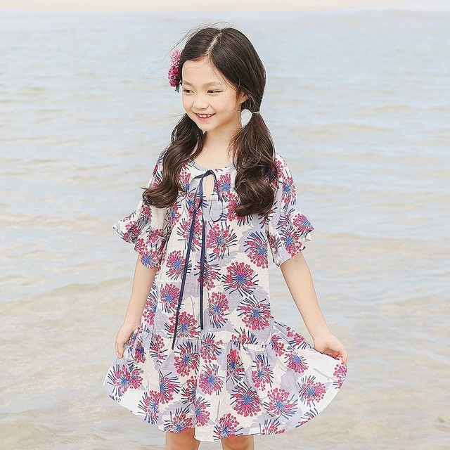 4caaeda9f4f petal sleeve summer dress girl 2018 beach flowers print teenage children  dresses for girls of 12 years old holiday baby clothes
