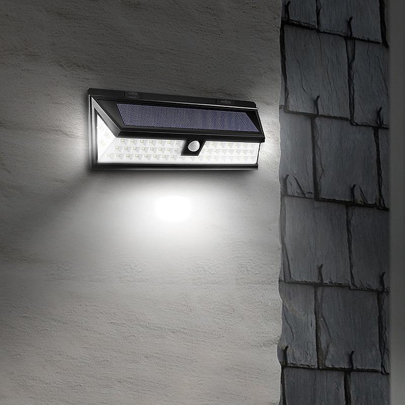 Waterproof 54 LED Solar Light 2835 SMD White Solar Power Outdoor Garden Light PIR Motion Sensor Pathway Wall Lamp 3.7V outdoor wall mounted solar motion sensor led white lamp silver