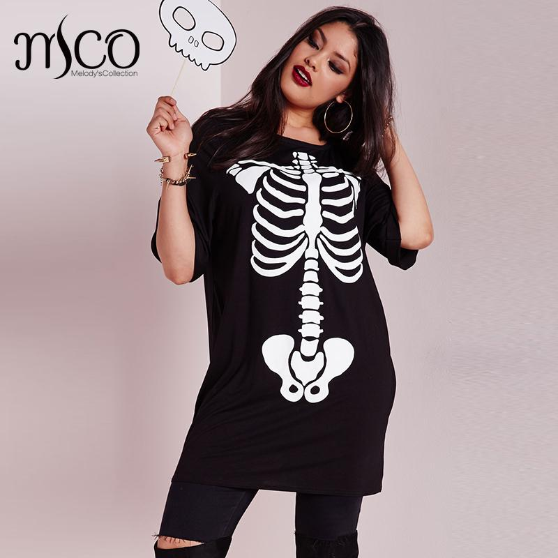 high elastic halloween skeleton print jumper street punk style t shirt long line black tee shirt plus size women tops 5xl 6xl in t shirts from womens