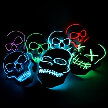 Scary Skull Halloween EL Wire Light Up Glowing Party Mask LED Cosplay Costume -Party