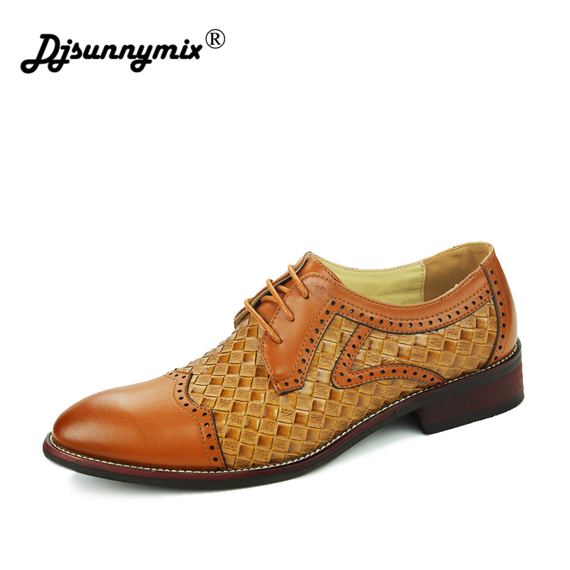 DJSUNNYMIX Luxury Brand mens shoes dress sales genuine leather black fashion formal business male shoes Bullock