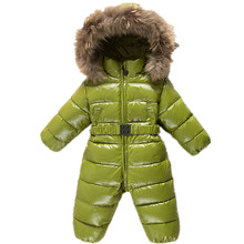 Hot winter jumpsuit Romper baby clothes boys warm snowsuit infant snow wear Real Fur Overalls Girl hoodies Ski Costume clothing