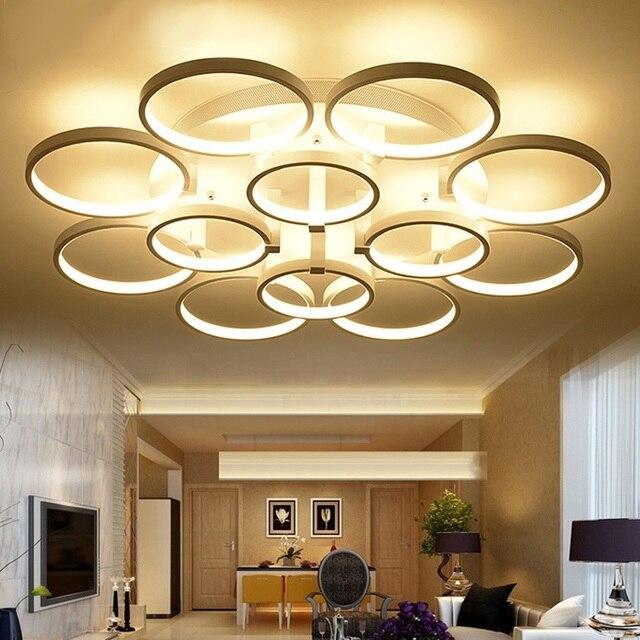 טבעת אורות חדר שינה סלון מנורת תקרה הובילה מודרנית מינימליסטי מנורת תקרת שלט רחוק דימר 90-260 V
