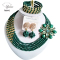 laanc Shiny Opaque Green and Gold Champagne african bead necklace for weddings  crystal  C2684