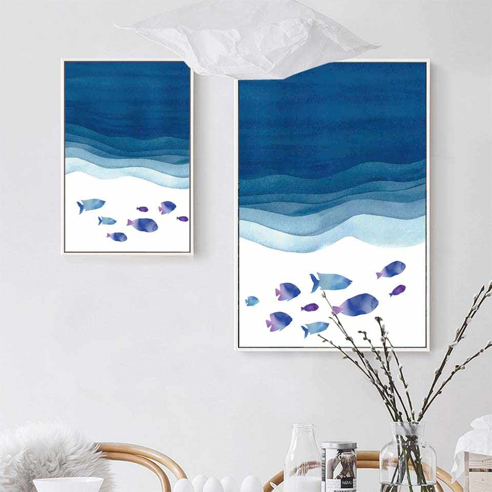 Posters and Prints Canvas Art Painting Wall Art Nursery Decorative Picture Nordic Style Kids Decoration Blue sea fish whale